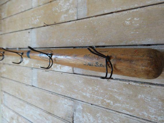 Wooden Vintage Baseball Bat Cap Or Coat Rack Tee Ball Bat