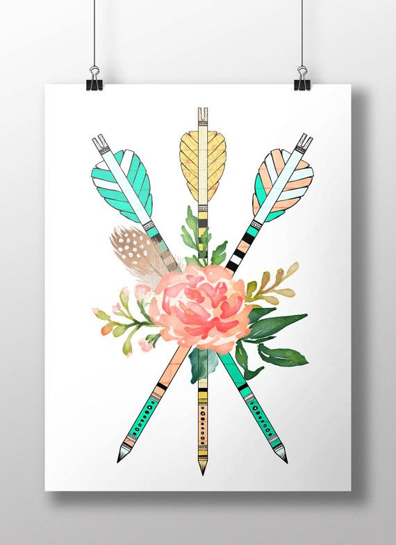 Buy 2 get 1 free! #Watercolor #flowers and #arrows # ...