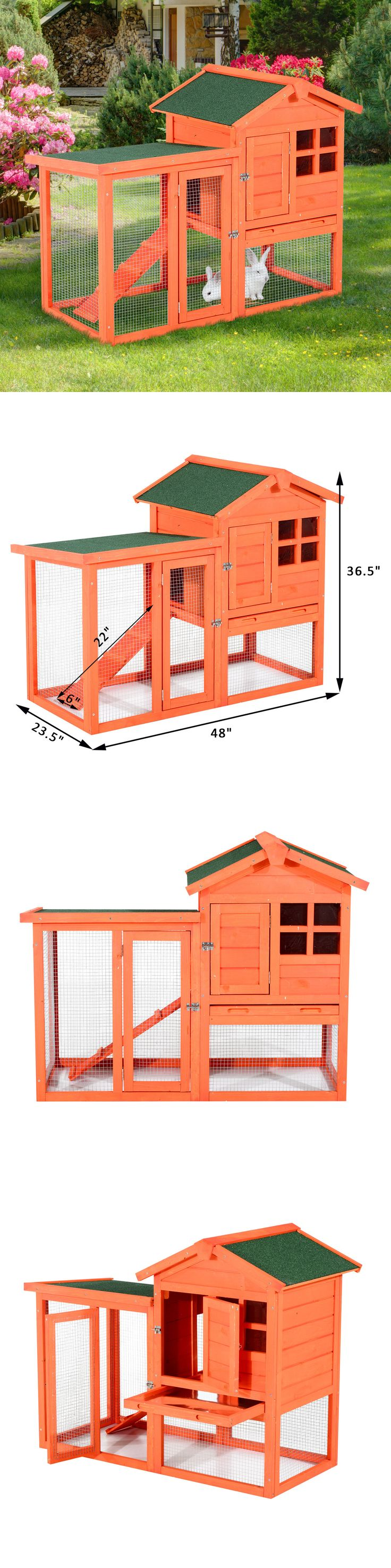 Cages and Enclosure 63108: Pawhut Deluxe Rabbit Hutch Chicken Hoop Wooden House Cage Animal Habitat W/ Run BUY IT NOW ONLY: $119.99