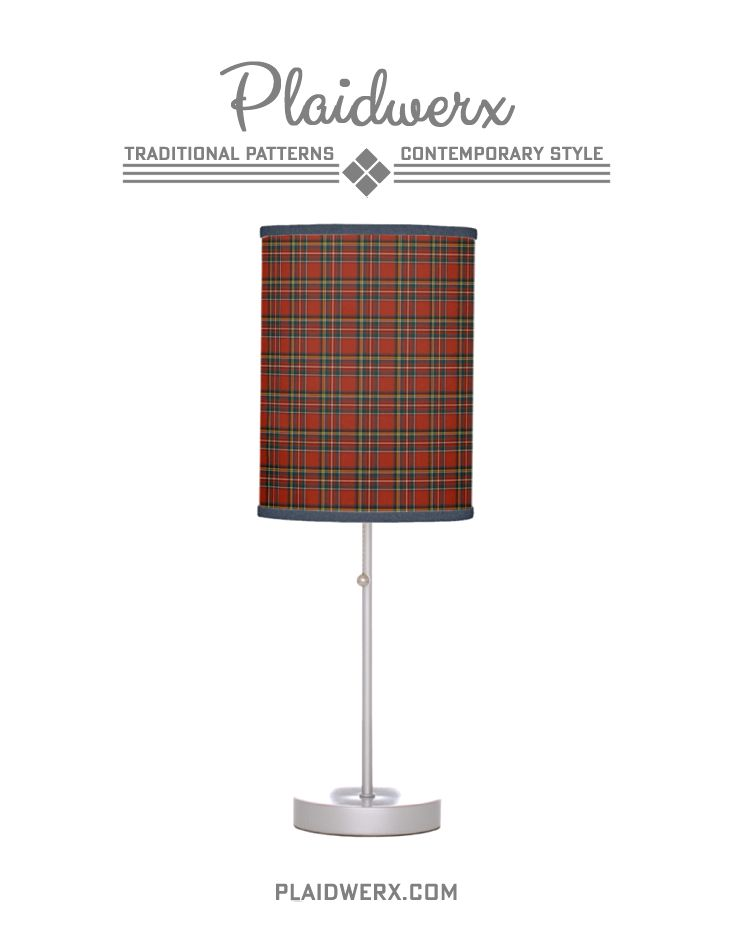 Royal Stewart Tartan Table Lamp - Choose from two base colors, three shade material types, and 14 trim colors. Lampshade available separately. #royalstewart #plaid #tartan #scottish #classicstyle #lamp #homedecor #plaidwerx