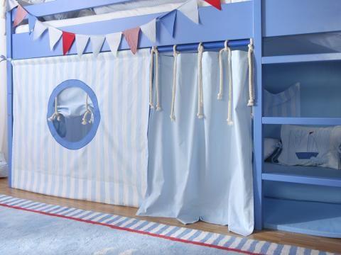 Etagenbett Vorhang Blau : Hochbett jungen wei mit schrank regal und felipe blau