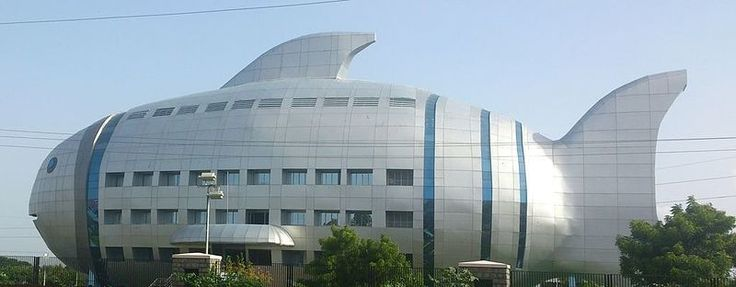 A fisheries department shaped like a fish.