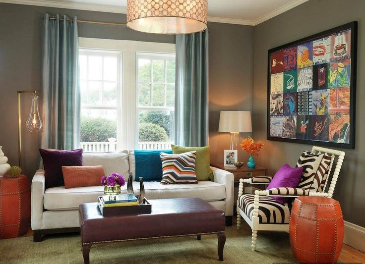 Living Room Design Ideas With Bold Colors Grey Blue Curtain And Colorful Wall Art