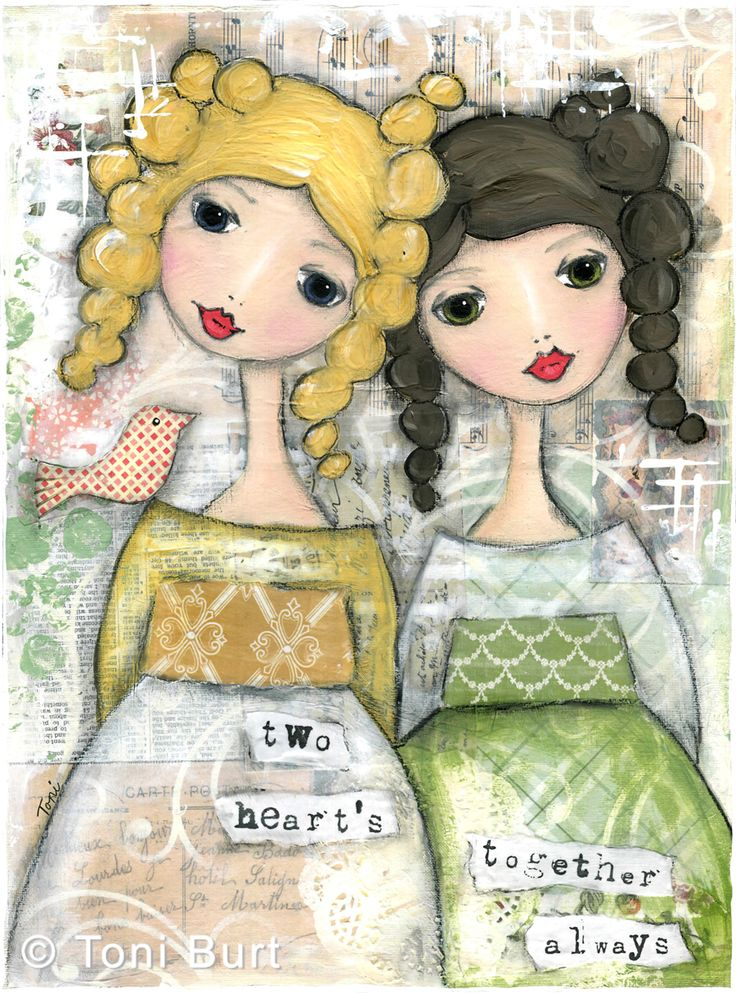 Two hearts - together always. Two sisters, two friends, best friends art. Mixed media girls.