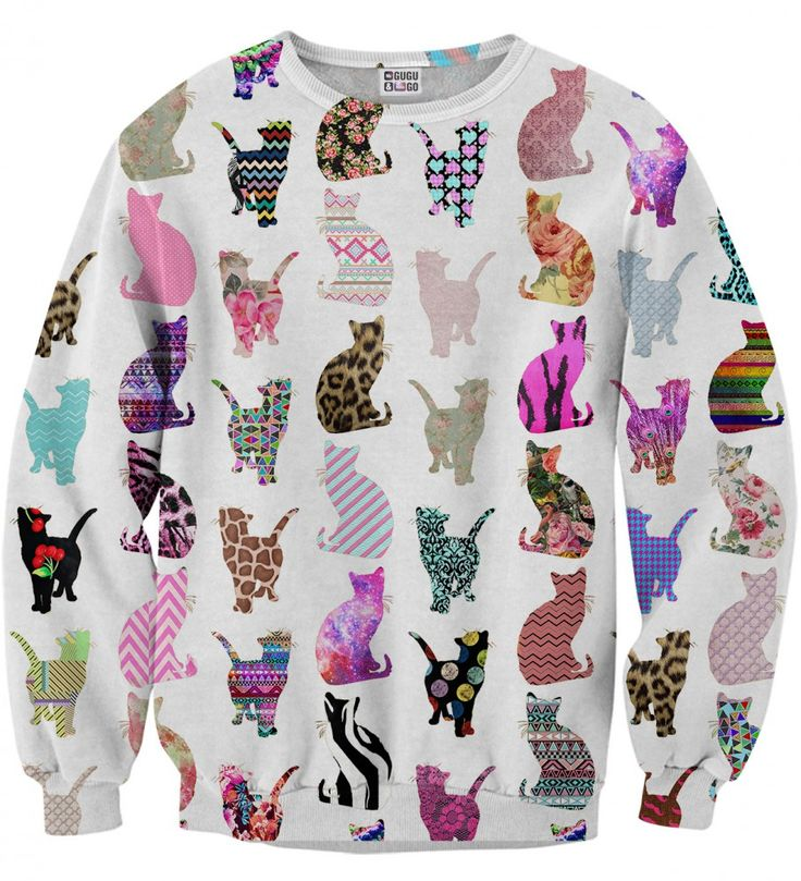 You like it as we do, don't you? Here it is - plenty of them! Cat motive multiplied by the amount of individuals needed to feel good and attract attention.  A 'must have' for all followers of crazy aesthetics and cat people. White drowned in colours. Or maybe it's the other way around?