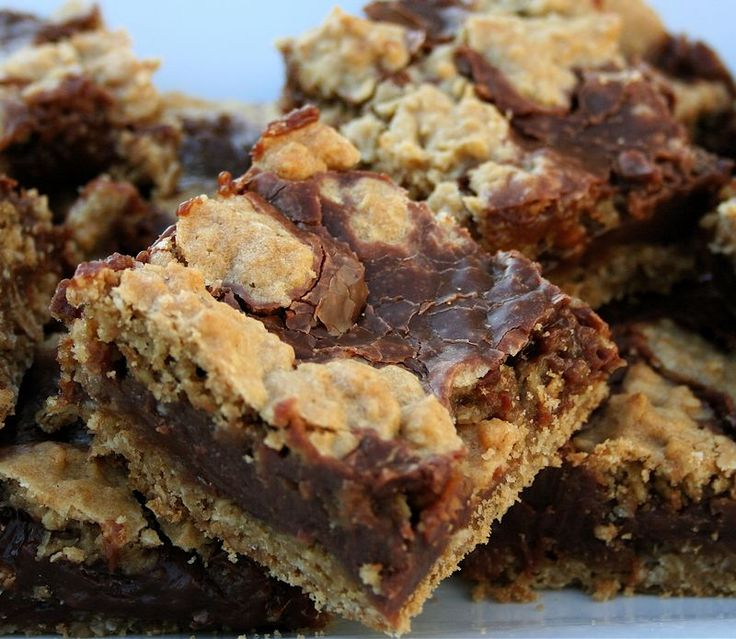 """Chocolate oatmeal """"killer bars"""" **Review** These taste like Starbucks Oat Fudge Bars. They were incredible, can't wait to make them again but need to wait until there's some family gathering or something so I don't polish off the entire dish myself!"""