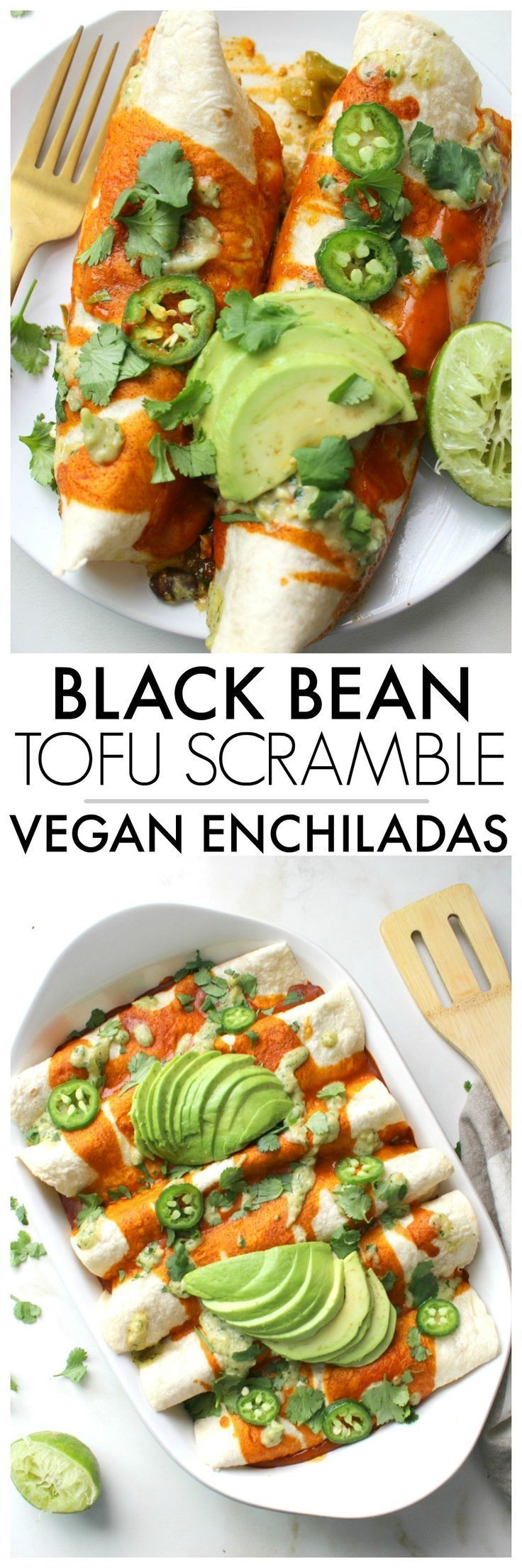 These Black Bean Tofu Scramble Vegan Enchiladas are loaded with a hearty tofu scramble of black beans & veggies and are topped off with a green chili cream sauce | ThisSavoryVegan.com #vegan #veganenchiladas