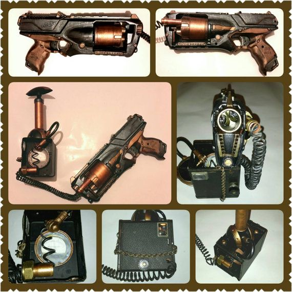 Steampunk gun LARP weapon Nerf custom gun with pump di Gothianna