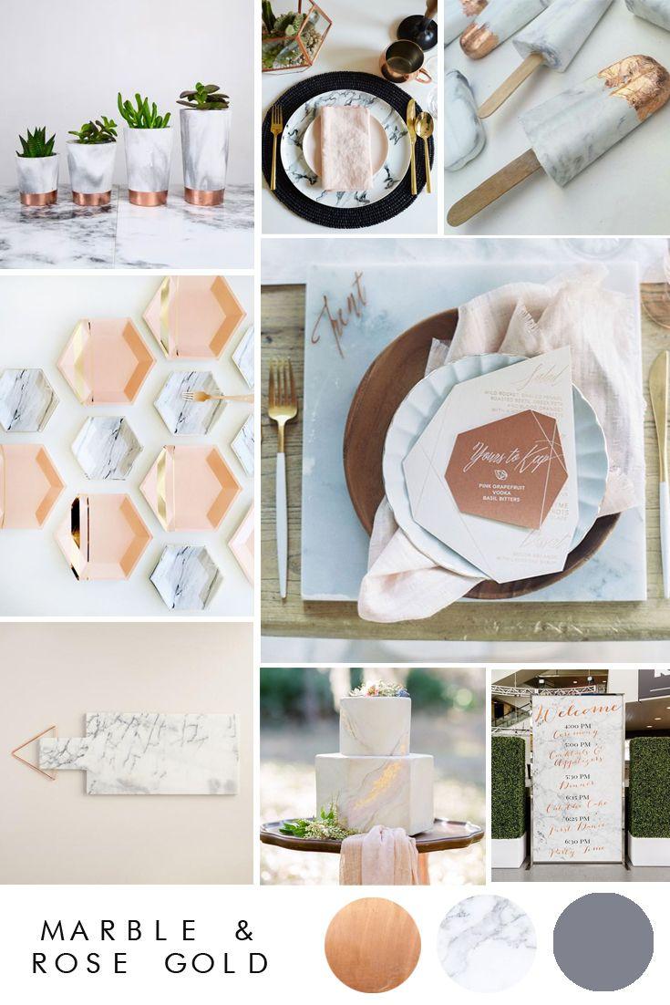 54 best marble and rose gold weddings images on pinterest. Black Bedroom Furniture Sets. Home Design Ideas