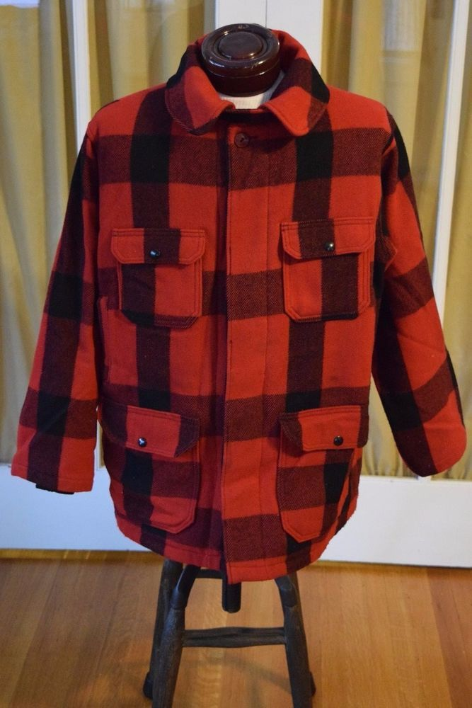 Vintage Woolrich Wool Hunting Coat Jacket Red Black Buffalo Plaid Men's Size 42 #Woolrich