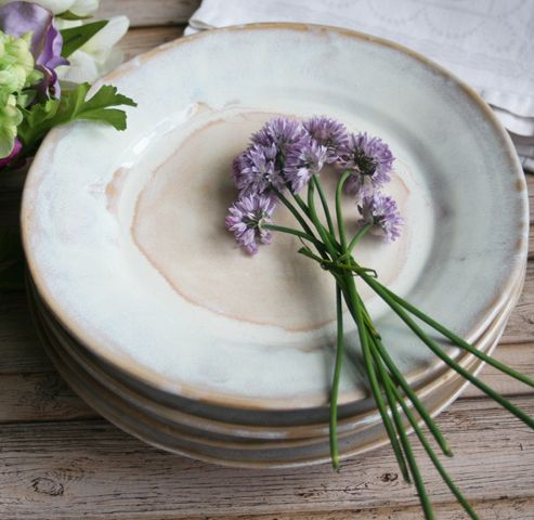 These 4 super rustic dinner plates were hand thrown and trimmed on my potter's wheel using a white stoneware clay. They were bisque fired and glazed with a beautiful white glaze that breaks to ...