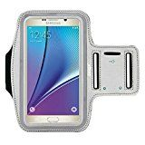 Deego Premium Running Series Easy Fit Galaxy Note 5 Edge S6 Edge Plus + Note 4 Note 3 Sports Armband Exercise Gym Jogging Running Walking Fits LG G4 G Stylo ZTE Zmax + Key Holder Sweat Proof (Grey)