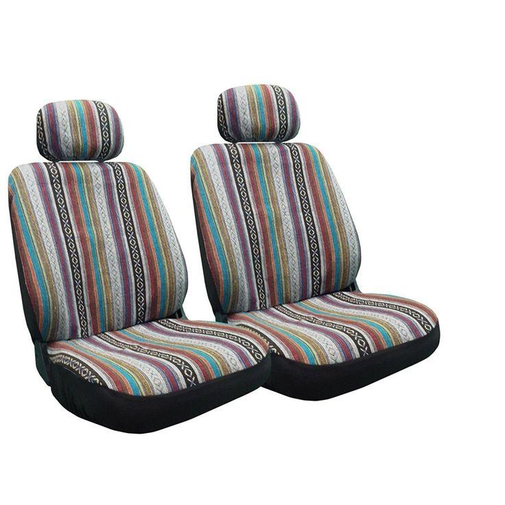 Unique Baja Inca Seat Covers Pair Front Row Saddle Blanket For Toyota Celica (Multi), White