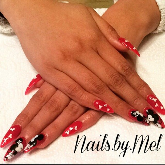 Love my clients! ❤️ #nails #stilettos #mickeymouse #minniemouse #mickey #minnie #art #nailart #acrylics #notpolish #naildit #fullsets #fills #rockstars #pinkandwhites #visalianails #nailsbymel #lovewhatido #559 #salon #beauty #wrddings #bride #manicures #pedicures #gel #bestnailfieof2015