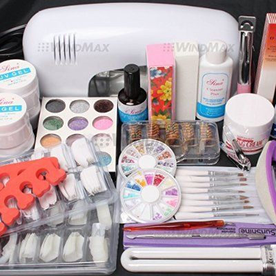 25 in 1 Combo Set Professional DIY UV Gel Nail Art Kit 9W Lamp Dryer Brush Buffer Tool Nail Tips Glue Acrylic Set #30 | @giftryapp