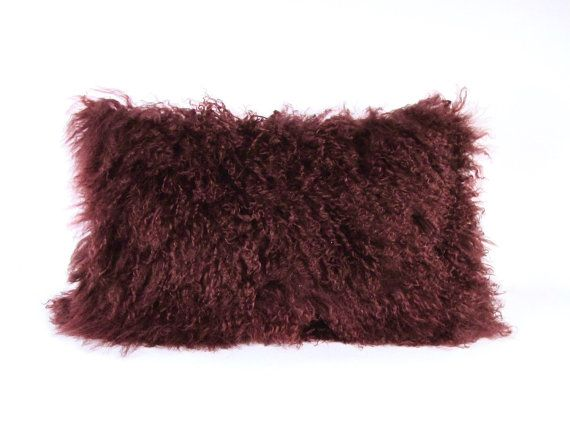 mongolian fur pillow eggplant fur pillow genuine mongolian