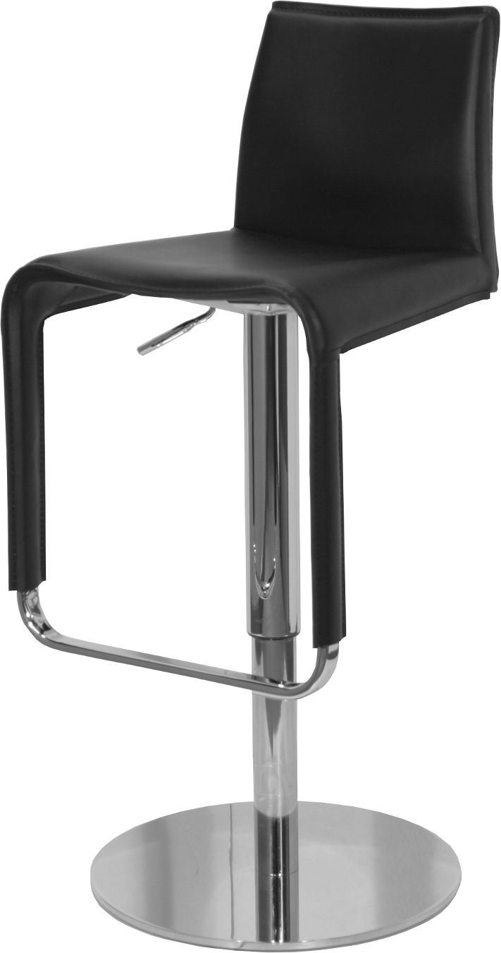 The Firenze Black Leather Gas Lift Bar Stool