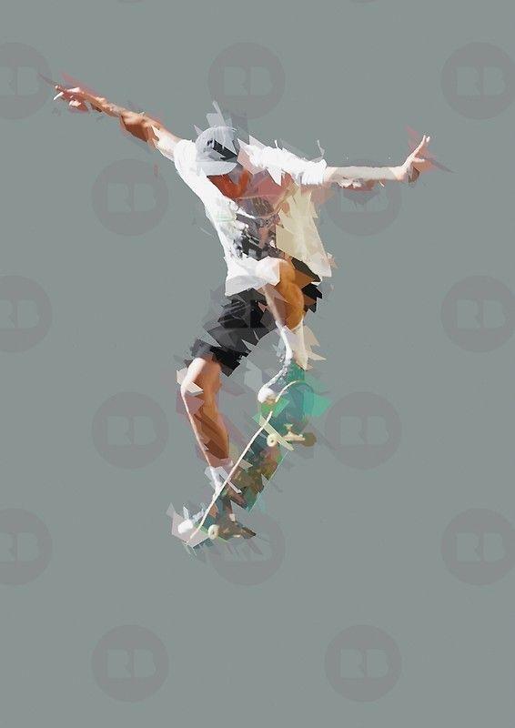 Sk8 Shattered Geometry Poster Skateboard Design Poster Art Cool Skateboards