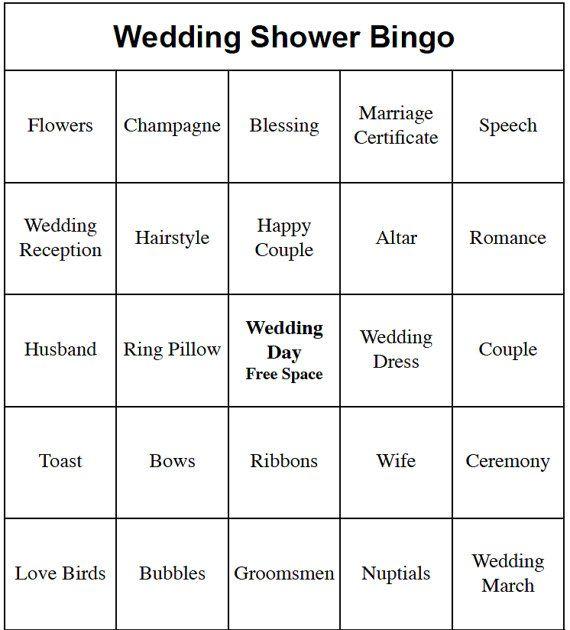 20 Individual Printable Wedding/ Bridal Shower or Engagement Party Bingo Cards
