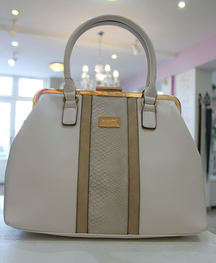 David Jones beige & white bag