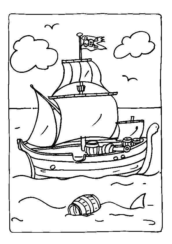 Coloriage d'un petit bateau pirate  naviguant au milieu de l'océan.