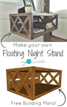 Build your own floating night stands with these DIY Plans, I you need is a 1x8x8 board to get started!