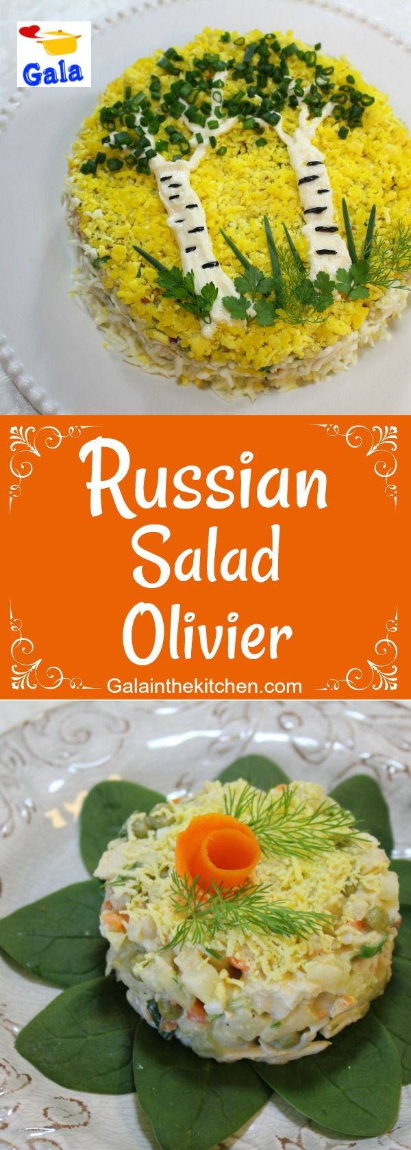 Russian potato salad recipe with garnish ideas, step by step photos and video. Welcome to visit Galainthekitchen.com
