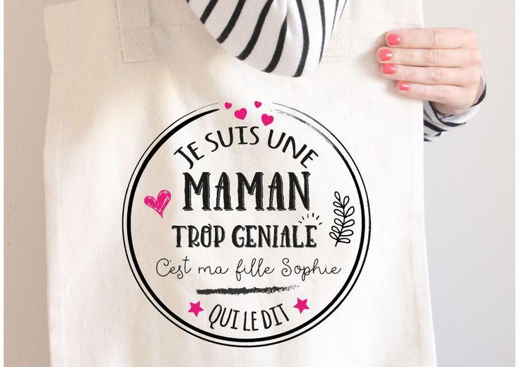 Tote bag personnalisé pour une maman géniale : Autres sacs par le-monde-de-bibou