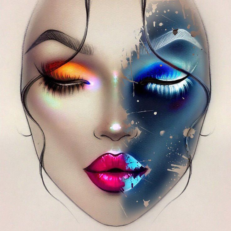 Sergey X (@milk1422) created this beautiful day and night /fire and ice face chart using Illamasqua cruelty free makeup sealing gel