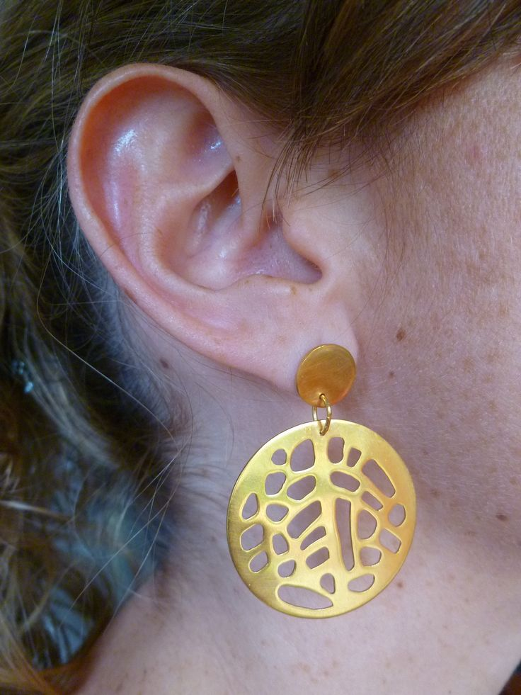 Earrings, isnpired by Gorgonia Coral, hand-made, 24 K, gold-plating.