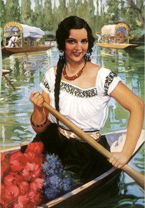 Guadalajara Senorita: Mujer Canoa, Flowers Posters, Mexicans Paintings, Latina Pin, Mexicans Senorita, Guadalajara Senorita, Mexicans Artworks, Art Prints, Senorita Flowers
