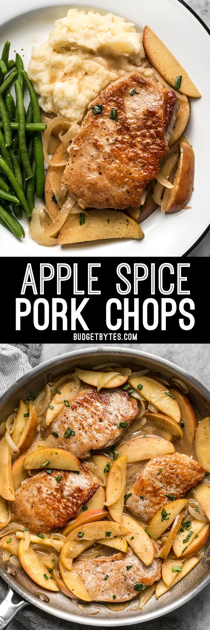 These Apple Spice Pork Chops are smothered with apples, onions, cinnamon, and butter which make a rich, flavorful, sweet, and savory main dish. BudgetBytes.com