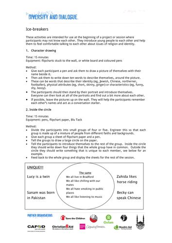 A good pdf with some useful ideas for icebreaker activities.