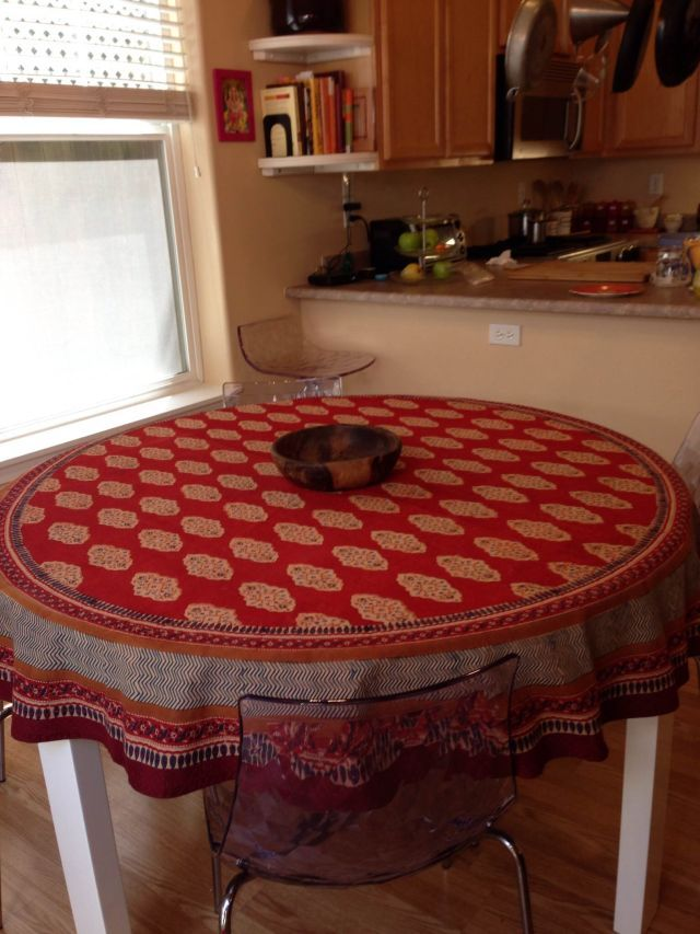 Red Orange Tablecloth, Moroccan Indian Tablecloth, Holiday Tablecloth, Round  70in, 90in