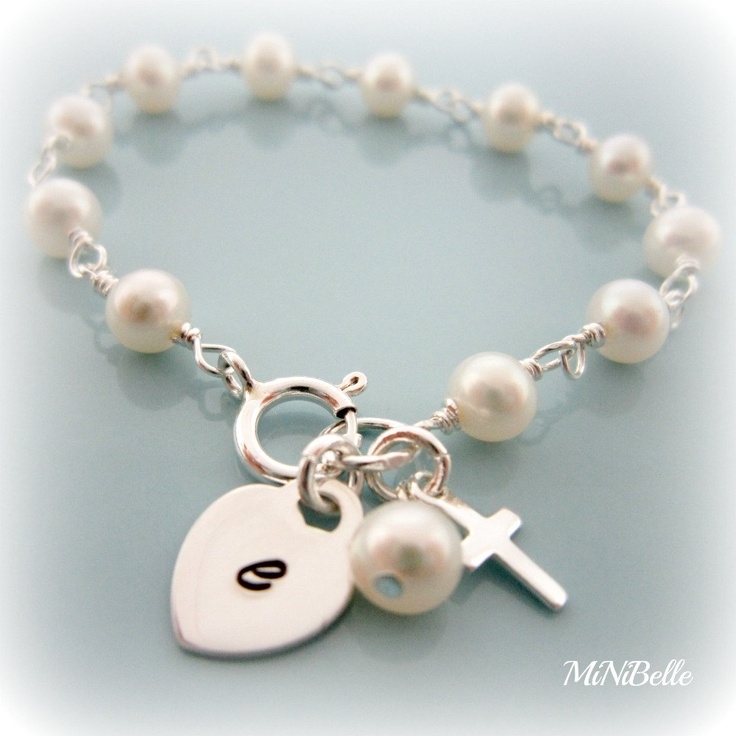 Baby Pearl Bracelet. First Communion Gift.