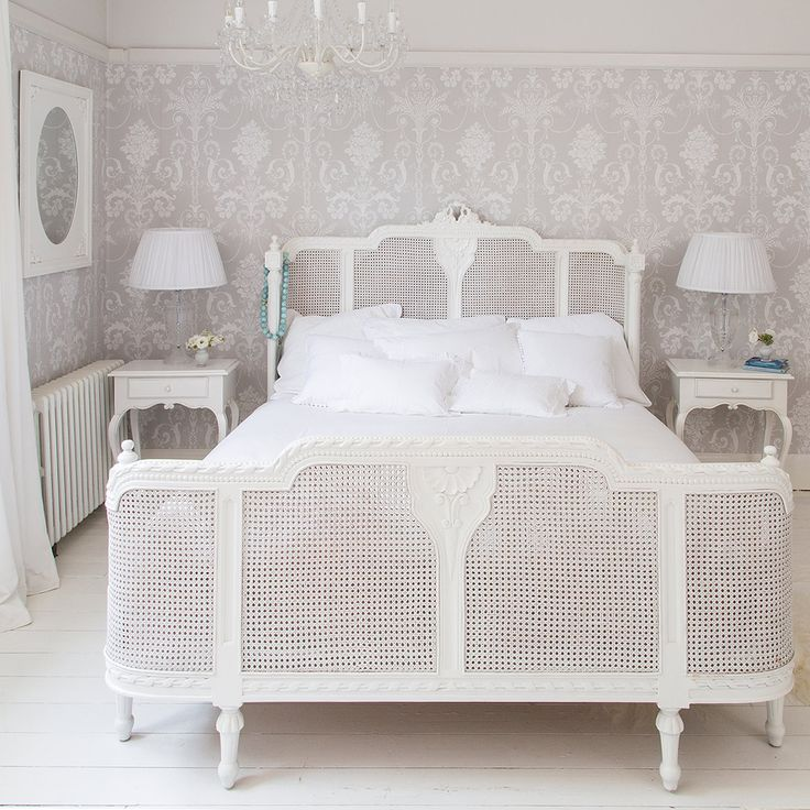 Lit Lit White Embellished Rattan Luxury Bed by The French Bedroom Company