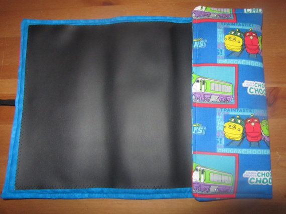 Chuggington Traveling chalkboard for kids fold up by FoxDenSewing