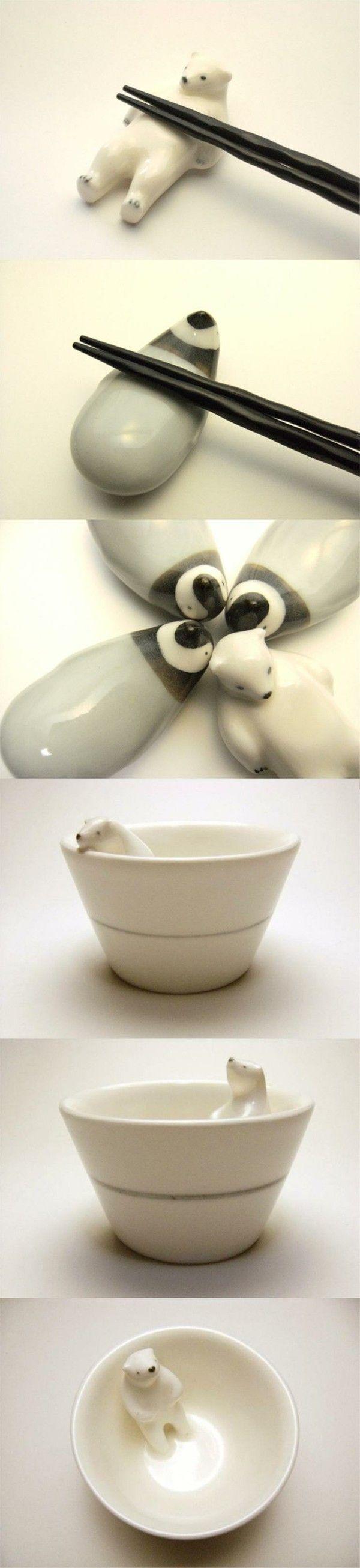 筷架 北极熊和企鹅!!!!陶艺家多田誠三创办的品牌-楽土Raku-do