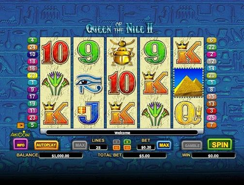 Enjoy Queen of the Nile 2 slot free Who in this world are not familiar with the name great pyramid of Egypt, the magical river Nile, Pharaohs and the beautiful queen Cleopatra? That is why, when Aristocrat Software launched Queen of the Nile slot machine, the gaming world welcomed it whole-heartedly and made the game a grand success. Aristocrat later introduced Queen of the Nile 2 slot game machine as the sequel of the earlier version.