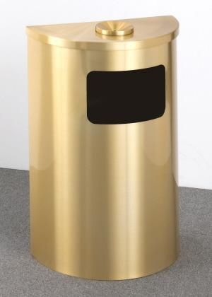 6 Gallon Half Round Side Opening Trash Can with Hinged Lid 29 Colors
