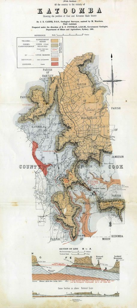 Geological sketch map of Katoomba, 1901 and brief history of coal mining at Katoomba
