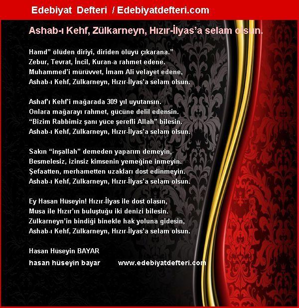 Ashab-ı Kehf, Zülkarneyn, Hızır-İlyas'a selam olsun. Şiiri Edebiyatdefteri.com sitesinde otomatik olarak oluşmuştur. Sizde şiirinizi otomatik e-kart yapın!