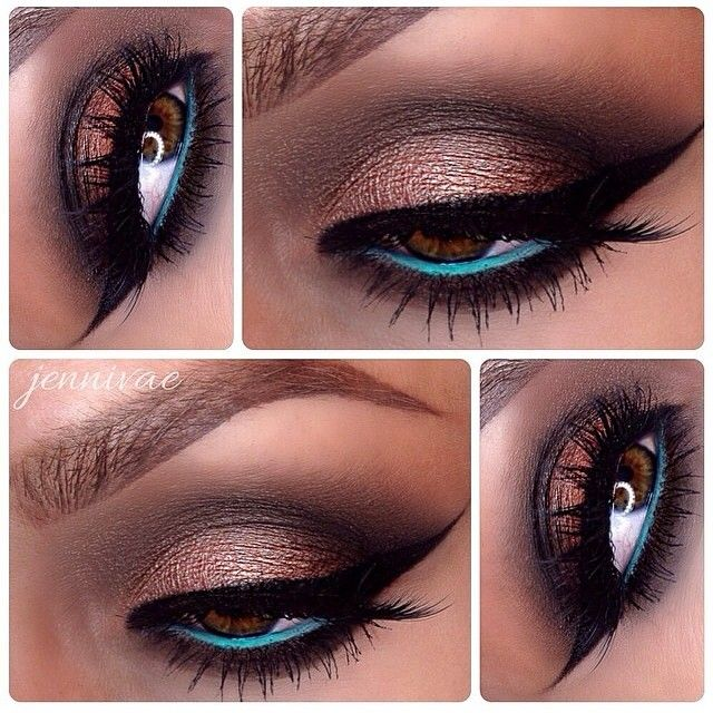 We love this metallic brown smokey eye make up look with cobalt blue, or turquoise liner along the lower lash line #makeup...x