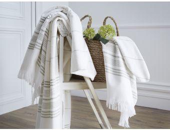 Linge de bain - #vert -vertbronze  -#hammam Serviette jacquard - Blanc Cerise