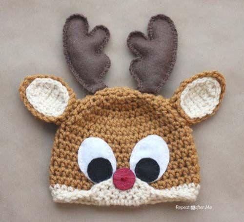 Gorros navideños tejidos a crochet par niños03