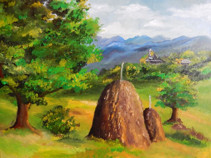 Pitoresque landscape in Romania, oil painting, 50/40cm