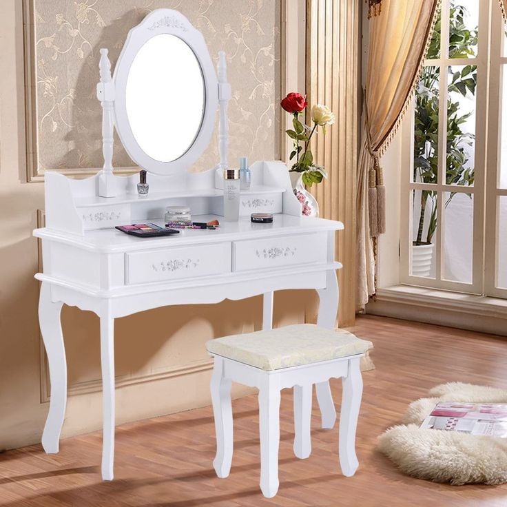 Costway White Vanity Jewelry Makeup Dressing Table Set W/Stool 4 Drawer Mirror Wood Desk