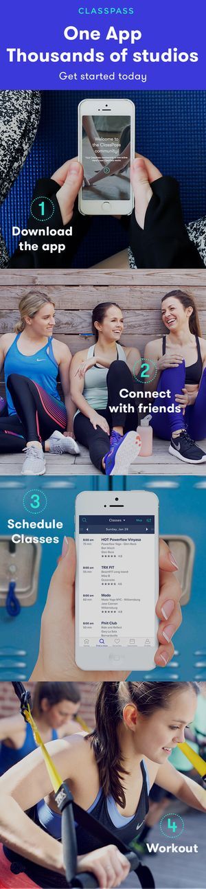 Your next sweat session is only a few clicks away! The ClassPass app connects you to the best workout classes near you - and you can try it for $19! Whether you're looking for barre, boxing or beyond, you can find your next class, plan your workout schedule and connect with friends, all from the palm of your hand.