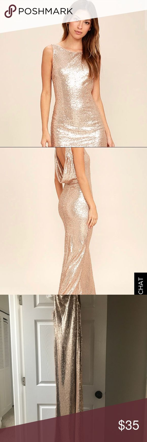 """Lulus gold sequin dress Lulus gold sequin dress """"slink and wink rose gold"""" Wore it for a wedding I was a bridesmaid in. So pretty! I wore a sticky bra and felt so beautiful in it! Low scoop back. There were a couple snags hence the price but really not very noticeable. I am 5'6"""" and wore 2"""" heels it was perfect length. And I'm 130 lbs, bra size 34 B/C Lulu's Dresses Wedding"""
