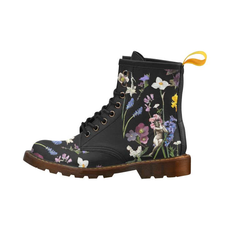LEINTEREST mosaic coloful rainbow Flower Martin Boots Fashion Shoes For Women